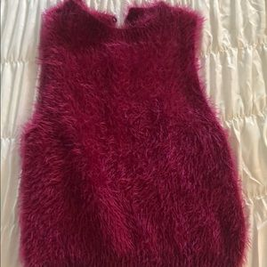 Furry sleeveless top